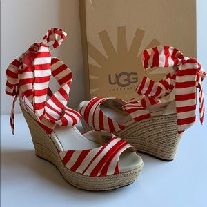 NEW UGG Lucianna Red Striped Espadrille Wedges